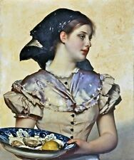 Stunning Oil painting female portraits - Carl Gussow - The oyster girl on canvas