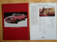 BENTLEY Continental Convertible c1986 brochure - like Rolls Royce Corniche