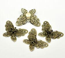 20 Bronze Tone Filigree Butterfly Charm Pendants Embellishments Findings 43x32mm