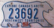 Northwest Territories 1988 POLAR BEAR License Plate # 23692