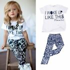 2 PCS Baby Kids Girls Tops+ Pants Outfits Set Clothing Cute Summer Suit 2-7Y New