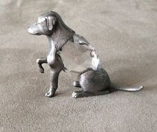 """1984 Miniature MANON Pewter Dog Figurine w/Crystal Body and Eyes 2.5"""" Long"""