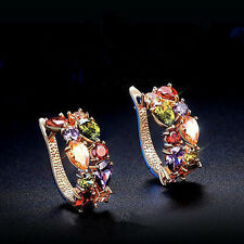 Colorful gems metal earrings hypoallergenic earrings popular in Europen
