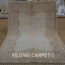 Yilong 5.5'x8' Persian Wool/Silk Handknotted Rug Fine Isfahan Carpet 1904