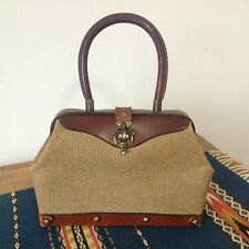 Vintage Rustic Tan Canvas Leather Purse Metal Clasp Hinge and Studs Handmade