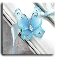 12 turquoise deux tons filaire sheer tissu papillon avec paillettes & gems 3x 3,75 cm