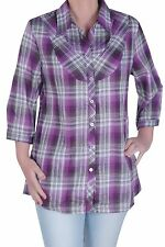 Womens Checkered Casual Plus Size Check 3/4 Sleeve Collared Blouse Ladies Shirt