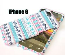 For iPhone 6 / 6S - HARD SKIN CASE COVER BLUE WHITE PINK AZTEC SEA STAR FISH
