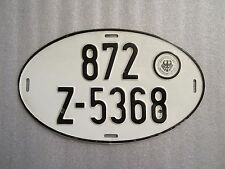 Authentic Vintage Oval German License Plate Hauptzollamt Stuttgart-West