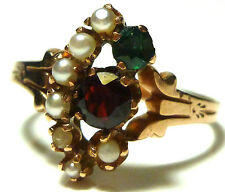 ANTIQUE NOUVEAU DECO 10K YELLOW GOLD SEED PEARL GARNET EMERALD RING SIZE 7.75