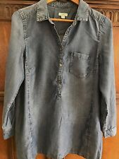 J Jill Denim Blue Jean Shirt Dress Tunic Long Sleeve Women's size M Medium