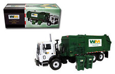 NEW WASTE MANAGEMENT RESIDENTIAL SIDE LOAD GARBAGE TRUCK WITH CARTS first gear