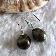 11-12mm Black Wave Baroque Freshwater Mother Of Pearl Dangle Earrings D2S