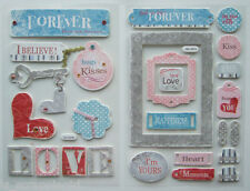 Lot of 2 ~LOVE FOREVER~ Thick Chipboard Stickers; WEDDING, VALENTINE'S DAY, Kiss