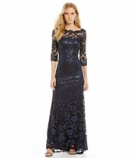 Tadashi Shoji Scalloped Sequin Lace Gown In Navy Size 16 NWT