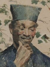 Antique Orientalist Watercolor Painting of Arab Man or Moor signed A Matolini 2D