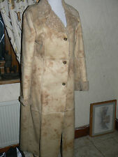 Ladies Beige Long Faux Suede Leather Coat  Size 12 by Colonial