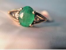 Ladies Natural Emerald and Diamond Ring in 10k yellow gold
