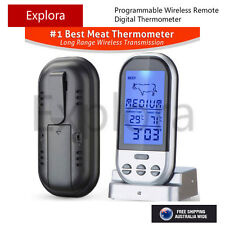 Programmable Wireless Remote Digital Thermometer & Probe, Meat, BBQ & Kitchen