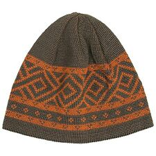 KODIAC - NWT - O/S - Brown/Orange Retro Geometric Wool Blend Calvin Beanie Hat