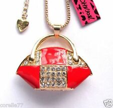 FANCY RED BAG PURSE PERSONALITY NECKLACE & CHARM CRYSTAL ALLOY