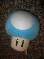 "MARIO Nintendo Plush TOAD Mushroom Stuffed Toy Blue White 10"" TALL"