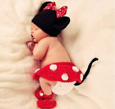 Handmade Cute New Baby Infant Minnie Mouse Crochet Costume 0-6 months