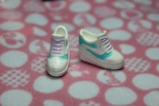 Barbie doll white gym shoes mint green & purple lace up sneakers pointed toes