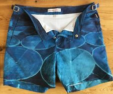 "Orlebar Brown Mens Blue Aerial Sphere Bulldog Shorts Size 32"" New"