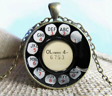 Vintage Phone Cabochon Bronze Glass Chain Pendant Necklace kv08