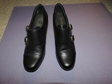 CLARKS Bendables Black Leather Double Brass Buckle Ankle Boots w/ Heel 8 M