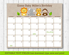 Cute Jungle Safari Animals Printable Baby Due Date Calendar Editable PDF