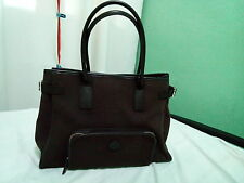 ausm SALE!!!!! AUTHENTIC AGNES B. HANDBAG CANVAS LEATHER DARK BROWN  P1500