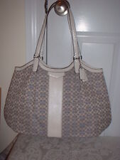 NWT Coach Signature Stripe Jacquard Shoulder Handbag Tote Denim Chambray 27734
