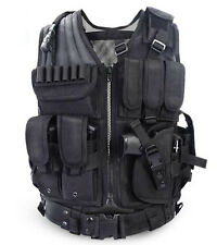 USMC Tactical Airsoft Paintball Hunting Combat Vest & Belt With Holster Pouch
