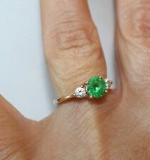 Solid 14K Yellow Gold w/ Cubic Zirconia Emerald Ring Size 6