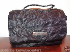 Victoria's Secret Black Checkered Cosmetic 2 Pocket Makeup Bag Travel Purse