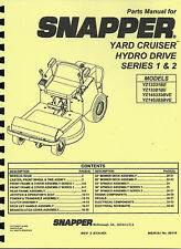 Snapper Series 1&2 Yard Cruiser YZ13331BE,YZ13381BE,YZ145332BVE Parts Manual