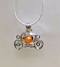 Make a Wish Pearl Cage Pendant Necklace- Pumpkin Carriage -925 Chain+Pearl