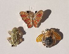 BUTTERFLY BEE FROG PINS BROOCHES RHINESTONE ENAMEL JEWELRY 3 PC BOXED SET NEW
