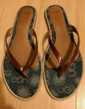 Ugg Red Patent Leather Denim Thong Flip Flop Sandal Size 10W rubber sole EUC