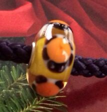 Authentic Trollbeads Ooak Turtle--Yellow Core. Bright Orange Shells