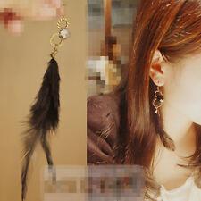 Boucles d'oreilles Pendantes Plume & Perle Noir C9
