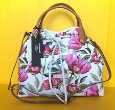 $360 CAVALCANTI Made In Italy Floral Drawstring Leather Shoulder Bag in Selvatic