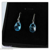 ~ STERLING SILVER Earrings with SWAROVSKI ELEMENTS Crystal SILVER 925  Gift BOX~