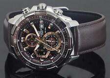 CASIO EDIFICE EFR539L-5 Chronograph Gray Ion Plated Bezel Leather Band 100m WR