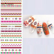 1Sheet Nail Art Water Decals Transfer Stickers Colorful Aztec Tribal Tips DS-286