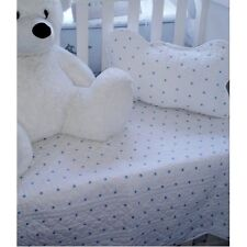 Baby Boy Cot Nursery Throw Quilt Set Cushion Cover Shabby Chic White Blue