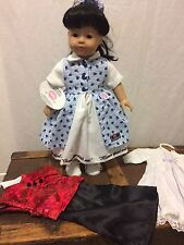"New! NWT Gotz Asian doll black hair brown eyes 18"" with 3 new outfits"