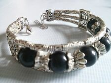 Ethnic Tibetan Silver Black Gemstone Bangle Bracelet Women Birthday Gift Wife GF
